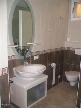 De badkamer van het gastenverblijf is voorzien van inloopdouche, toilet en wastafel. Föhn en linnengoed aanwezig.