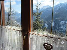 view from the 1st floor dining area. First, a hearty breakfast and the mountains beckon you out.