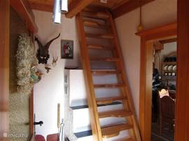 stairs to the attic and bedrooms of the house