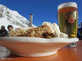 on the ski apple strudel and a well deserved beer