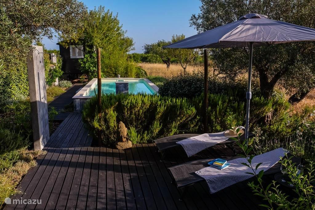 zonne terras met zwembad