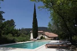 Een heerlijk nieuw zwembad met ruim terras