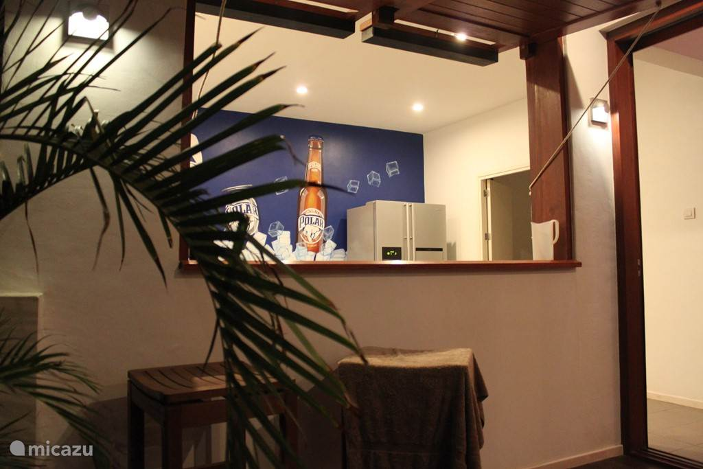 Bar and kitchen in August 2015; Large wall painting from the street image of Curacao has been placed in the kitchen. The owner has the sole right. A unique experience is experienced in the apartment and increases the I'm feeling on Curacao.