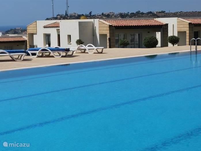 Het grote zwembad van Hilltop Resort ligt direct achter het appartement. Er is een groot terras met veel gratis ligbedden.