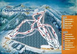 The Piste Map of skiing Hohentauern with varying slopes for small and large.