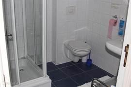 Moderne badkamer met toilet, douchecabine en wastafel.
