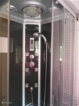 Badkamer benedenverdieping met douchecabine met massagejets en radio.