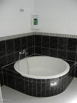 Badkamer 1 heeft een rond ligbad met douche.