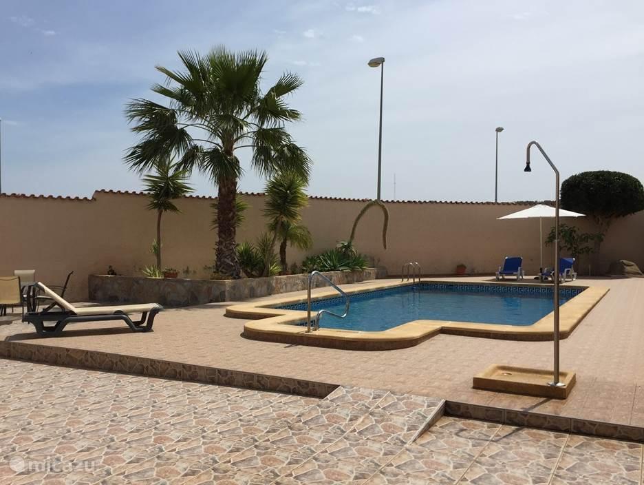 Zwembad met douche en terras aan de achterzijde.