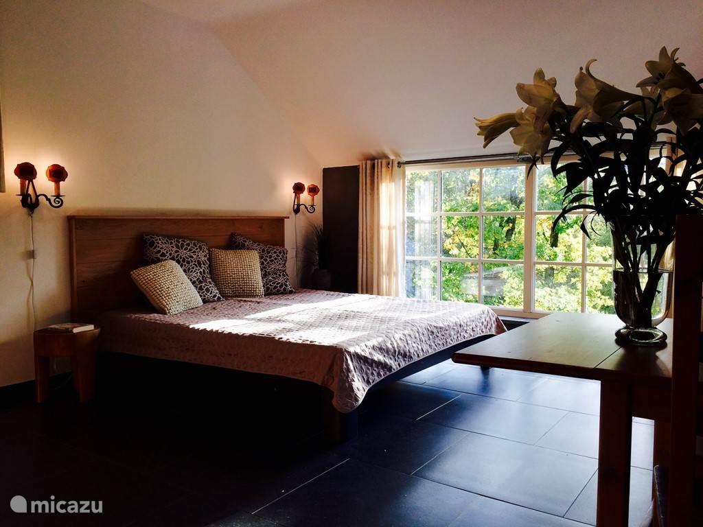 Riante slaapkamer voor 2 personen met eigen badkamer met inloopdouche en dubbele wastafel. Toegang tot zonneterras.  Airco