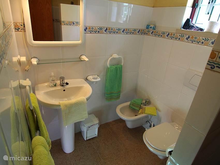 De badkamer is voorzien van een douche, toilet, bidet en wastafel.