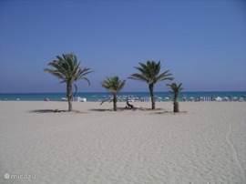 Mooi zandstrand met langzaam aflopende zee  zonder stenen of kiezels met lekkere golven ook geschikt voor de watersport.Een feest!