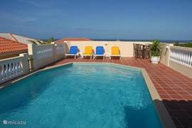 Lovely private pool with a view of nature and sea in the distance overlooking the runway of Hato