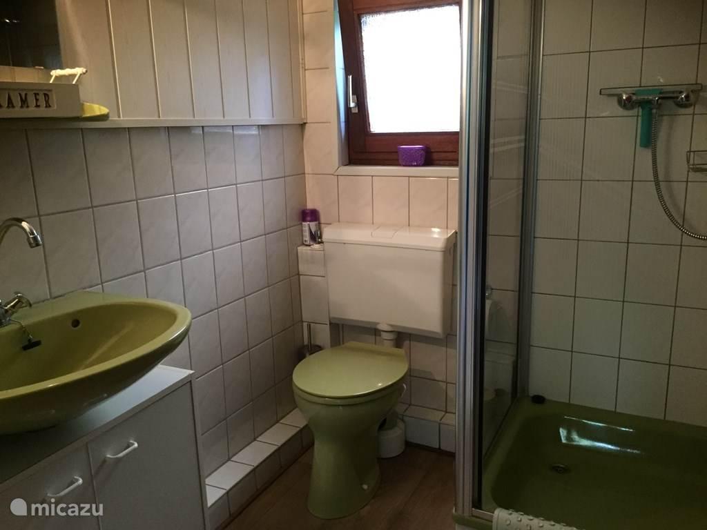 Eenvoudig maar doelmatig en schoon. Een douchecabine met mat en schuifdeur. Toilet en wastafel.