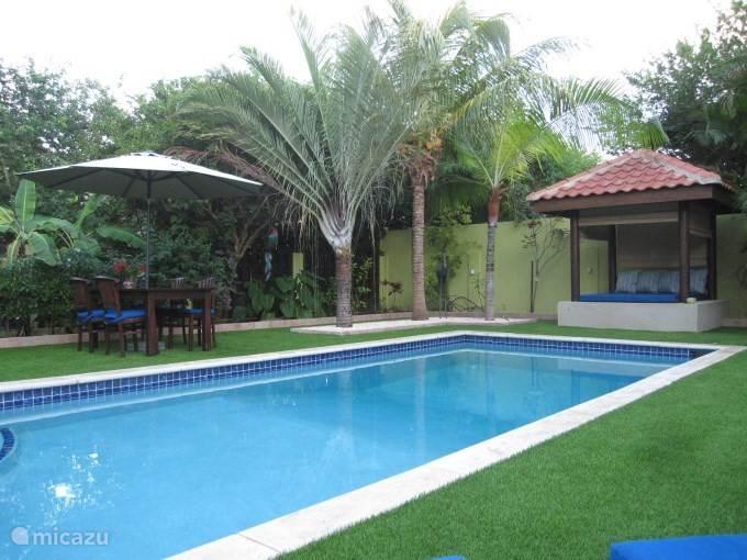 Een heerlijk zwembad van 8 x 4 om een verfrissende duik in te nemen.