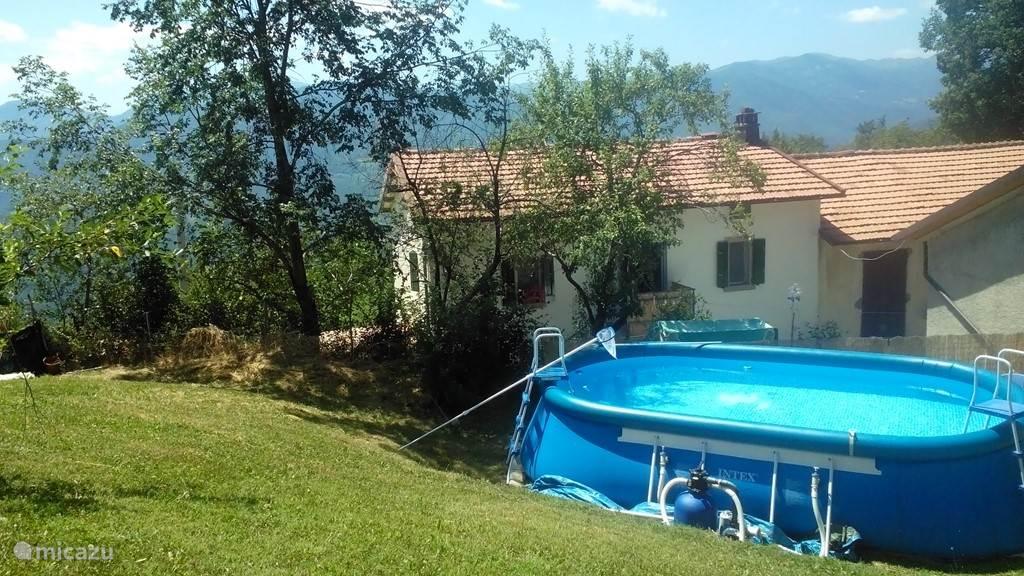 Uitzicht op ons huis met schuren en zwembad.