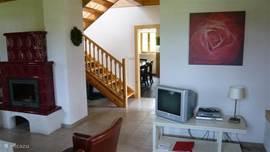 Woonkamer met tv en dvd, 6-persoons villa