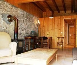 Een mooie authentieke woonkamer met vloer verwarming, open haard en een aangrenzend terras, waar u in de ochtend zon een lekkere fairtrade koffie kan drinken.