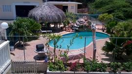 The pool has a waterfall, an outdoor shower and a palapa with sunbeds etc.