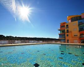Ruim gemeenschappelijk zwembad waar u vanuit de woonkamer zo naartoe kunt lopen.