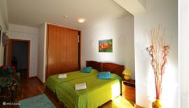 De gezellige slaapkamer met 2persoons bed  en ruime kledingkast.