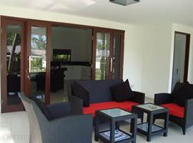 Relax in comfortable furniture on the spacious terrace.