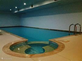 Het verwarmd binnenzwenbad (met ligbedden), ook in deze ruimte bevinden zich de sauna, douches en verkleedruimte.