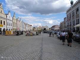 Het grote marktplein van Telc staat op de UNESCO-monumentenlijst.