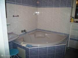 Badkamer met hoekbad, wastafel en aparte douche.