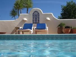 Het privé zoutwater zwembad met rondom een groot terras ligt centraal gelegen tussen de villa en het gastenverblijf. Het automatische solar cover zorgt voor een optimale water temperatuur en tevens voor veiligheid met kleine kinderen.