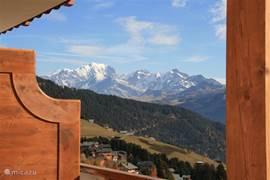 Het balkon van de 2e slaapkamer heeft dat prachtige uitzicht over de Mont Blanc.