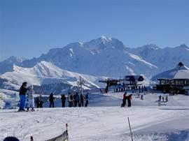 Top Mont Bisanne met uitzicht op de Mont Blanc