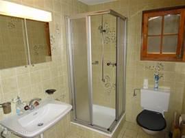 De comfortabele badkamer met prima douche, wastafel en toilet.