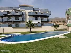 Hoekappartement met uitzicht op tuin en zwembad