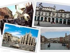Stedentrips naar Lago di Garda, Brescia, Bergamo, Milano, Verona, Madonna di Campiglio en Venezia.  Tip: het San Marcoplein in Venezia is zeer prijzig. Loop even een paar zijstraatjes in en bestel daar iets de eten of te drinken. Dit geldt voor het centrum van de de meeste grote steden.
