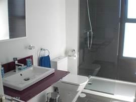 De eerste badkamer met wastafel, toilet en een inloopdouche