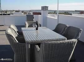 De luxe tuinset op het dakterras met Toldos