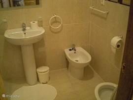 Badkamer 2 met wastafel, toilet, bidet, ligbad met douche