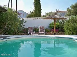 Het zwembad voor de gasten voorzien van 2 ligbedden. Tevens word het zwembad nog voorzien van zonnecollectoren zodat uw straks in een verwarmt zwembad kunt vertoeven. Ook word er nog een buitendouche geplaatst op zonnecollectoren.