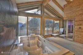 The wellness area with jacuzzi, steam bath, infrared sauna and two luxurious rain showers.