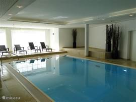 The luxurious pool with 2 jet streams and relaxation room is the showpiece of the spa complex.