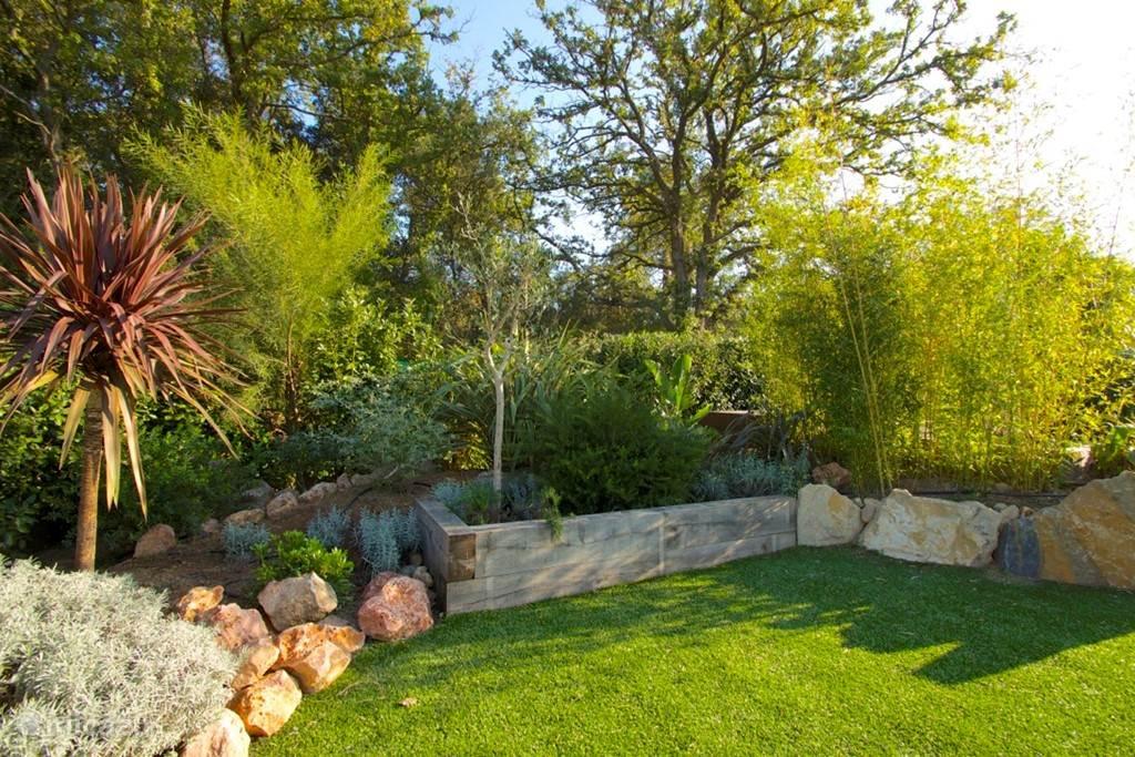 Mooie nieuwe achtertuin met prachtige planten en schaduwrijke hoekjes