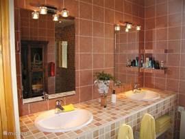 Badkamer begane grond met ruime douche en 2 wastafels. Separaat toilet naast badkamer.