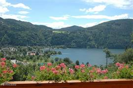 The beautiful view from the balcony at the Millstattersee.