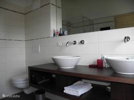 The ensuite bathroom in apartment Emerald. This bathroom has a shower, toilet and sink.