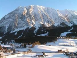 Uitzicht vanaf het appartement in de winter.