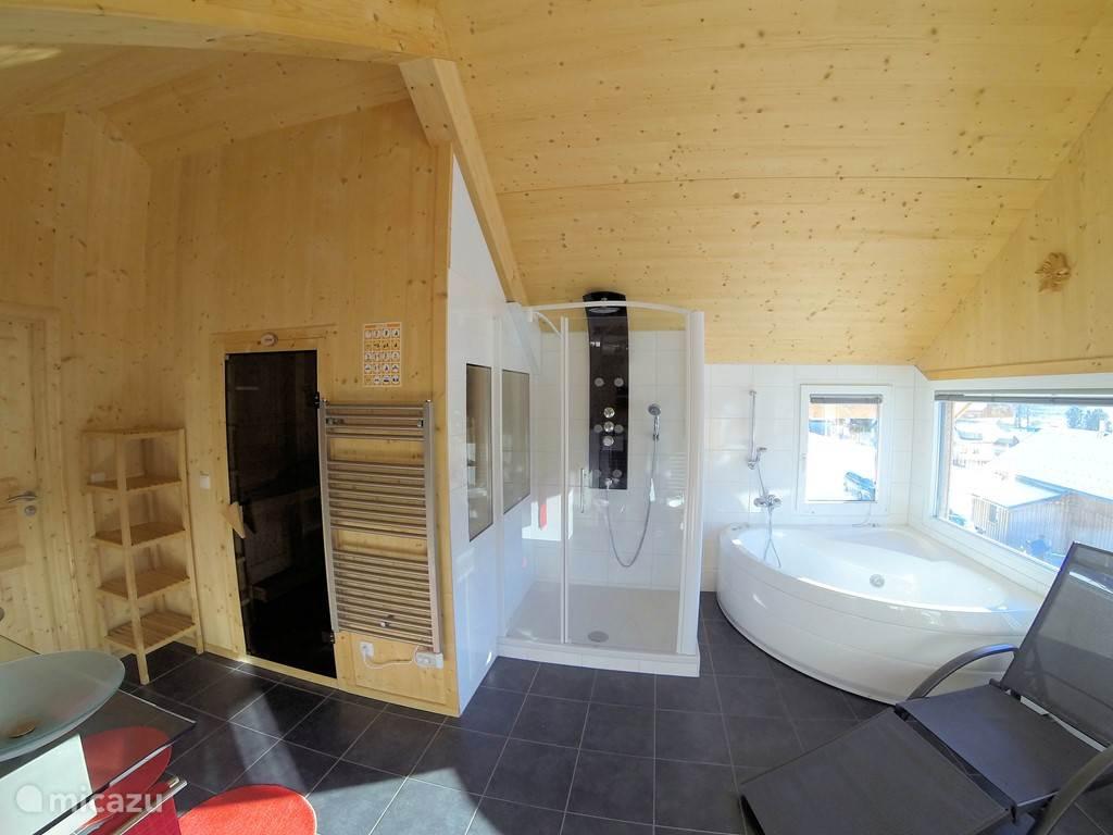 In-house welness-ruimte met jacuzzi en finsse sauna.,