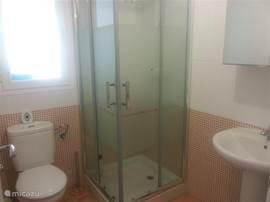 Dit is de tweede badkamer. Deze beschikt over een wastafel, douche en wc.