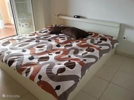Vanuit de master bedroom met 2persoonsbed (1.80x2.00m) stap je via de openslaande deuren naar het terras. Via deze slaapkamer kom je ook in de aparte badkamer