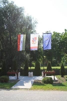 Zomaar een dorpskiekje. De dorpsvlag,de Hongaarse vlag, en natuurlijke de Europese vlag.